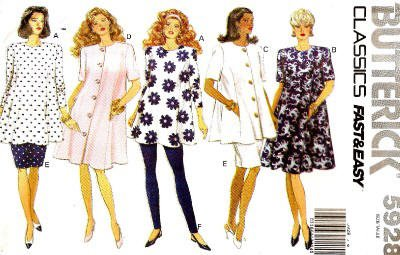 Butterick Sewing Pattern 5928 Misses' Maternity Dress, Top, Skirt & Leggings, Sizes 14 16 18 20