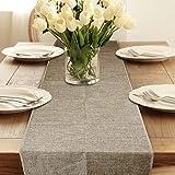 Camino de mesa rústico, fundas sólidas para hotel, elegante lino sintético, rectangular, para comedor, fiesta, decoración para el hogar o la boda (S,Caqui)