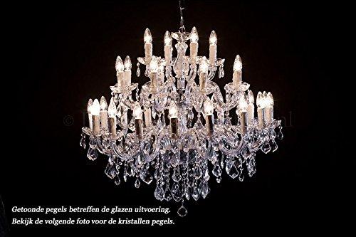 Kroonluchter kristal chroom Maria Theresa 28 vlammen - Ø95cm - XL grote kandelaar 28 armig zilverkleurig