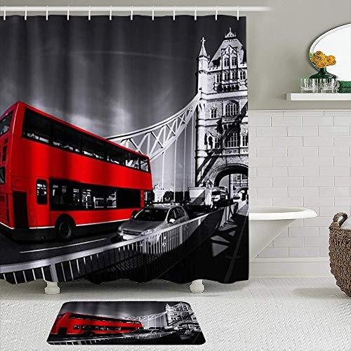 MANISENG Duschvorhang-Sets mit rutschfesten Teppichen,London Bus rot Bus City View Theme, Badematte + Duschvorhang mit 12 Haken