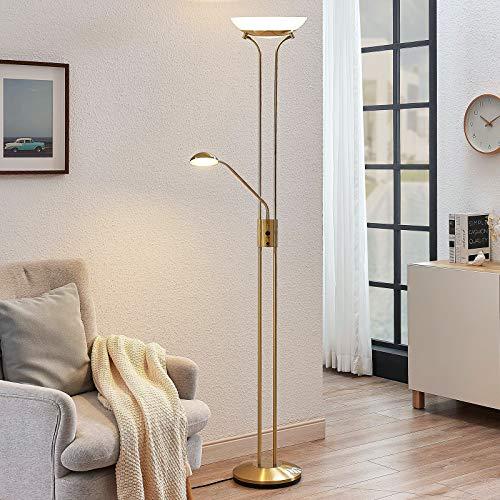 Lindby LED Stehlampe/Deckenfluter dimmbar, verstellbarer Lesearm | Standleuchte Messing matt/Gold | inkl. 1x 20W und 1x 5W LED Leuchtmittel A+ (fest verbaut) | warmweiß (3.000K)