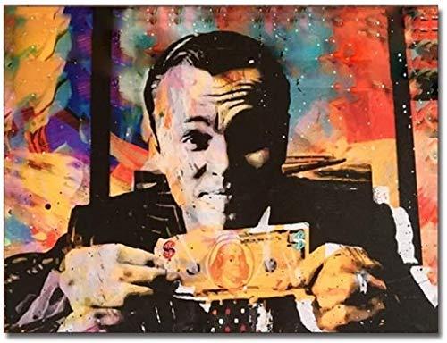 """Surfilter Print auf Leinwand Moderne Dekoration Leinwand Malerei Vintage Poster Leinwanddruck Wolf der Wall Street Geldgespräche Wandkunst Bilder für Wohnzimmer 27.5"""" x 39,4""""(70x100cm) No"""