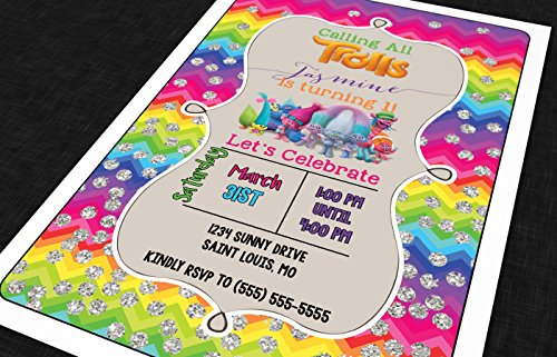 The Melange Market Customized - Birthday Invitation - Trolls, Personalized (20 Count with envelopes)