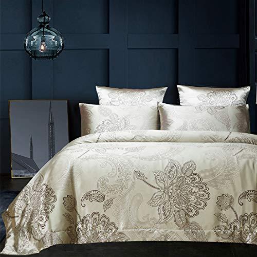 Ropa de cama de 200 x 220 cm, oro claro, dorado y gris, jacquard Lotus Paisley, diseño de flores, funda nórdica de 3 piezas, microfibra, satén, juego de cama reversible – 200 x 220 + 2 x 80 x 80 cm