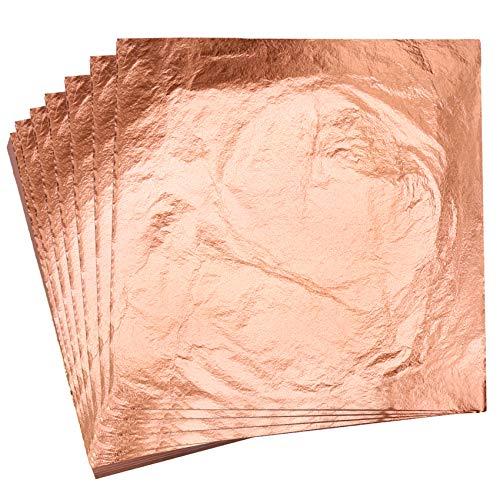 KINNO Gold Leaf 100 Feuilles de Papier de Feuille D'or Imitation Feuille de Cuivre pur pour Les Arts, la Dorure, la Décoration, 14 x 14 cm