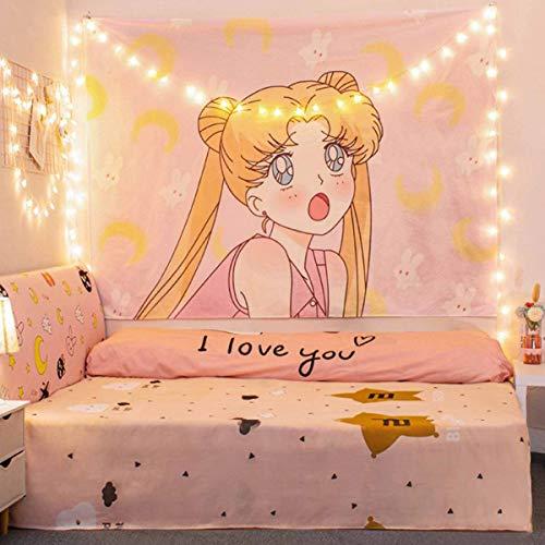 Aodafei Japanischer Anime Wandteppich Pink 01 Mädchen Zimmer Dekoration Wandtuch groß,100x70 cm NO LED