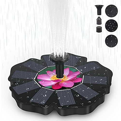 OVAREO Bomba Fuente Solar, 1.4W Fuente Jardín Exterior Fuente Solar con Batería y 5...