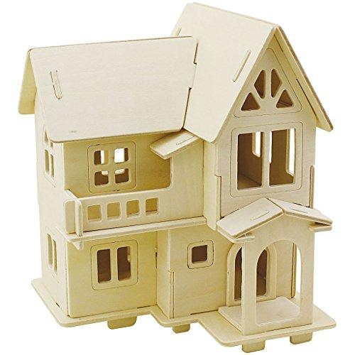 3D Holzbausatz, Haus mit Balkon, Größe 15,8x17,5x19,5, Sperrholz, 1 Stück