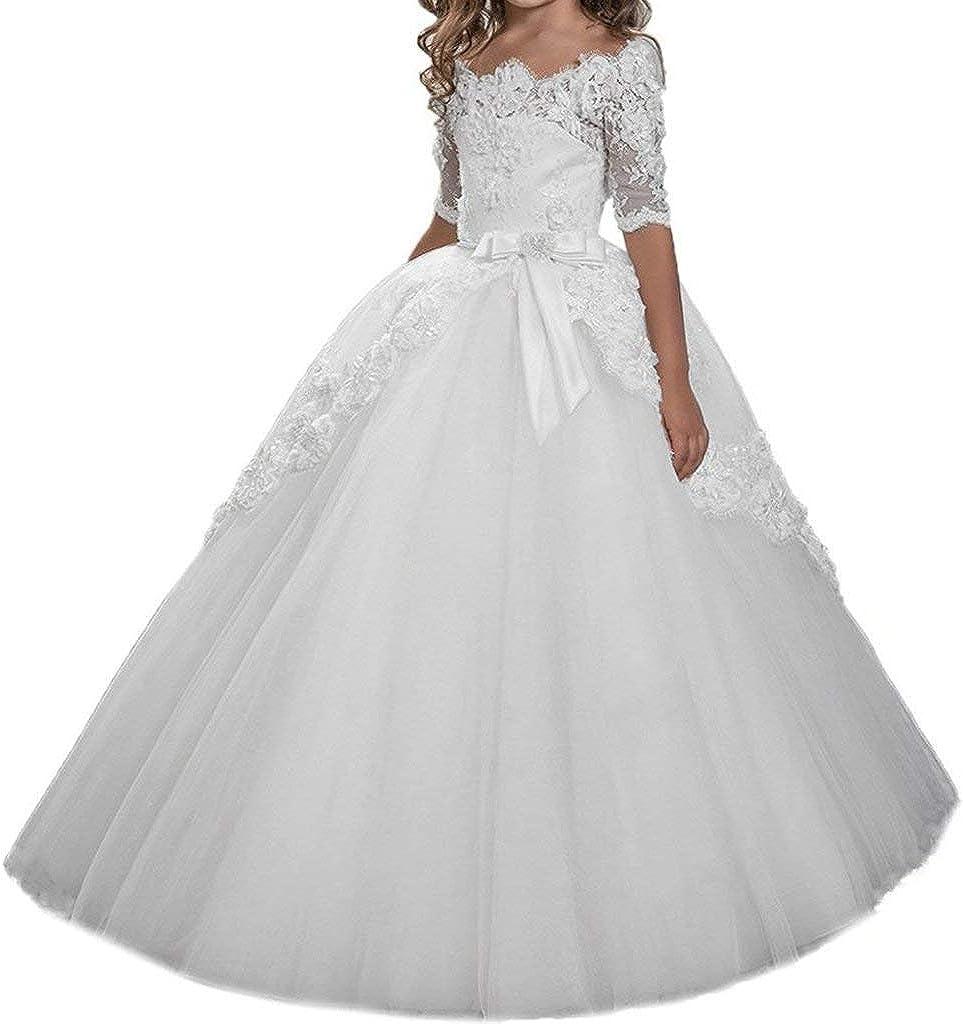 Flower Girl Dress Tulle Toddler Princess Dress Lace Girls Pageant Dress 7-16 Floor Length Ball Gown