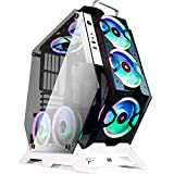 KEDIERS 7 PCS RGB Fans ATX Mid-Tower PC Gaming Case Open Computer Tower Case - USB3.0 - Remote Control - 2 Tempered Glass - Cooling System - Airflow - Cable Management