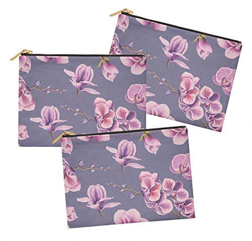 S4Sassy Violet orchidée Floral Lot de 3 Sacs à Maquillage Maquillage-6 x 8 Pouces
