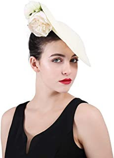 ad07cc7c1e124 Fascinator Hats for Women Flower Linen Headwear Ladies Kentucky Derby Party  Hair Accessories Cocktail Hat Ivory