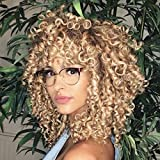 KimKSlay Curly Wigs with Bangs Brown Mixed Blonde Wig Short Curly Wigs for Black Women Short Curly Afro Wig Synthetic Heat Resistant Full Kinky Curly Wig(Blonde Mixed Brown)