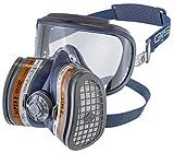 GVS SPR401 Semimáscara Elipse Integra con visor de seguridad integrado y filtros A1P3 para partículas y gases orgánicos, Filtros incluidos, talla M/L, blue