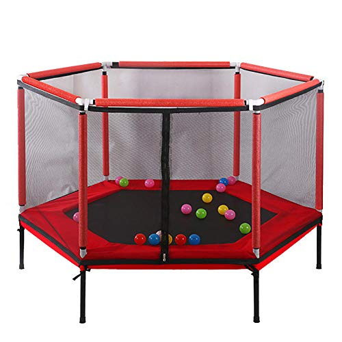 XM&XN Indoor Trampoline For Kids,Junior Trampolines Spring Cover Padding Jumping Mat Children Fitness Trampoline-Red