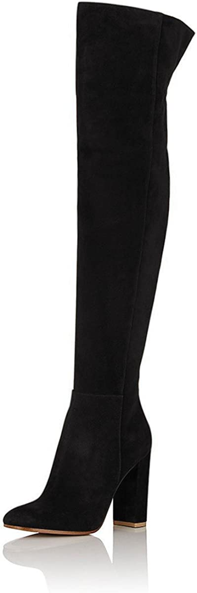 FSJ Women Over The Knee Chunky High Thigh Stretch Heels Super Max 40% OFF Special SALE held Zip