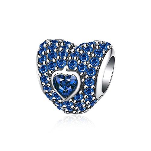 Abalorio en forma de corazón – plata de ley 925 y circonitas en azul hipoalergénico