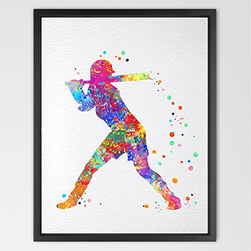 Dignovel Studios 8X10 Unframed Baseball Softball Player Sports Art Print Watercolor Print Girl's softball Softball illustration Softball Art Poster Softball Watercolor N137