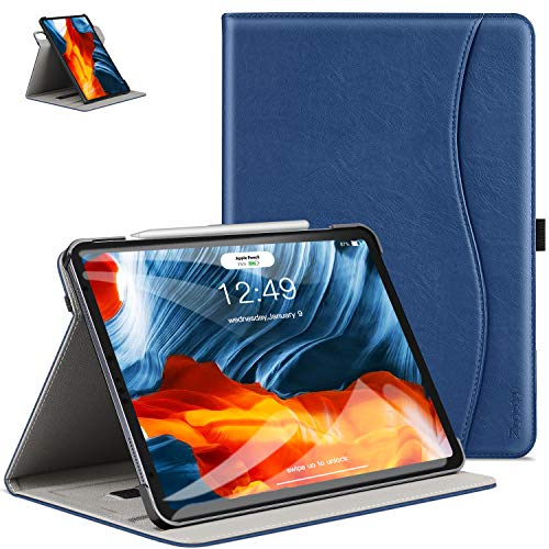 ZtotopCase Case for New iPad Air 4 10.9' Case 2020 / iPad Pro 11 2018, Premium PU Leather Slim Folio Cover, Folding Stand 360° Rotating Viewing Angles for iPad 10.9' - Navy Blue
