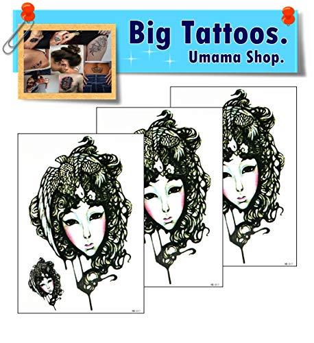 Umama Big Tattoos 3 Sheets Old School Temporary Tattoos Patterned Body Art Waterproof Mens Womens Kids Fancy Sexy Girl Bird's nest Hair Cartoon Sticker Fun Party Tattoo Fake