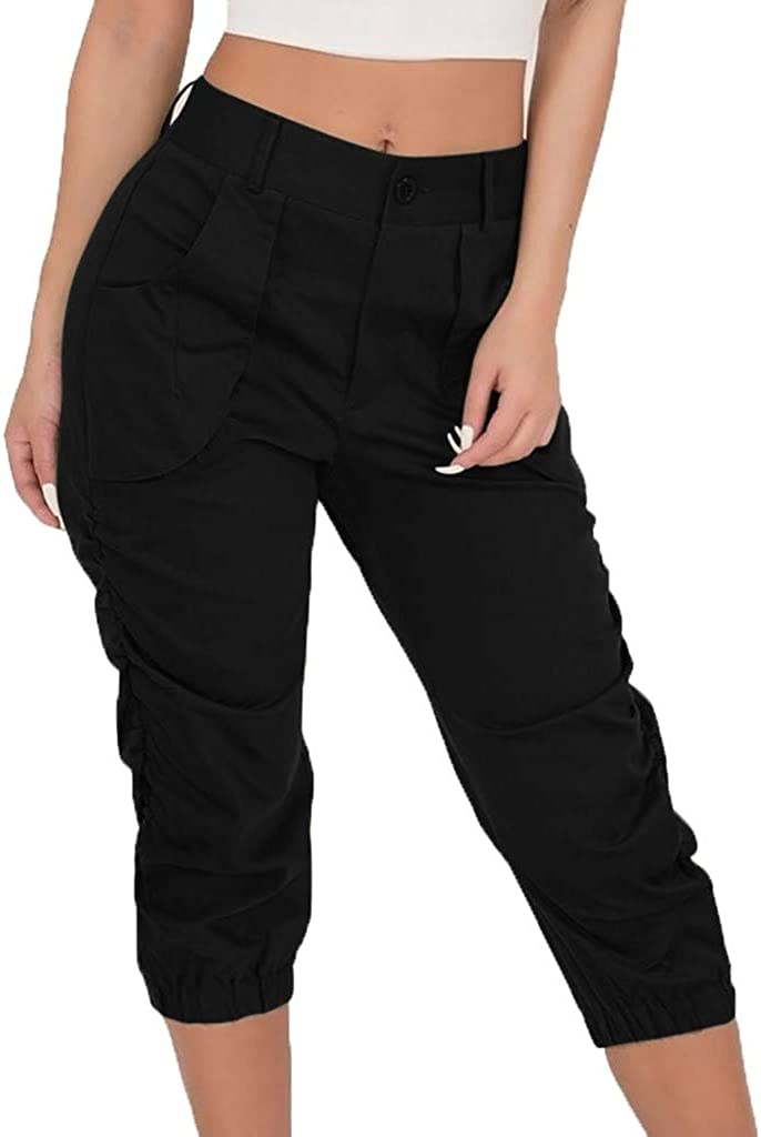 Pants Mikey Store, Women's Casual Cropped Trousers Harem Calf Ruching Outdoor