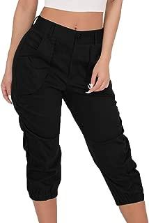 Women Summer Elastic Waist Boho Check Pants Baggy Wide Leg Plus Size Yoga Capris