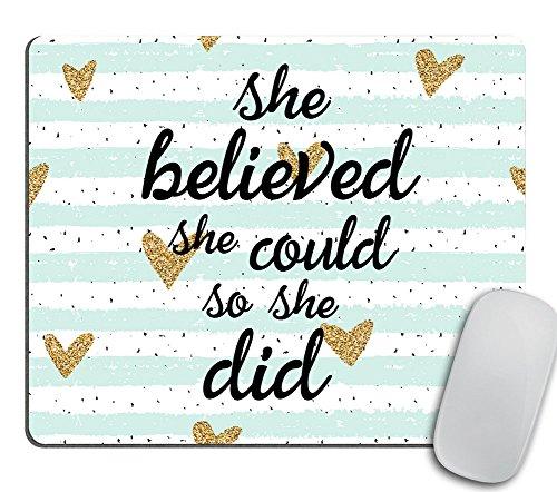Quote Mousepad, She Could Mouse Pad, Watercolor Mouse Mat, Custom Mousepad, Heart Mousepad, Inspirational Quote Mousepad Motivational Quote