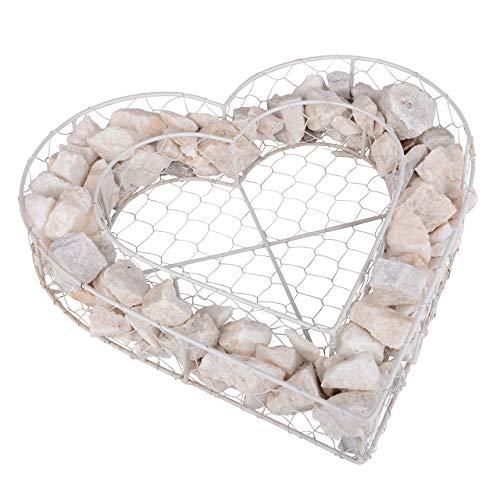 UNUS RM E-Commerce Grabschmuck Pflanzenschale Herzform Gartendekoration Stein Gabion 35x35x8 cm