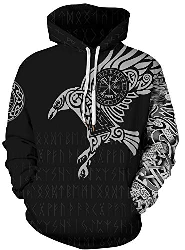 GLUDEAR Men's Vikings Tattoo Norse Mythology 3D Print Hoodie Pullover Sweatshirt,Odin's Eagle,XL