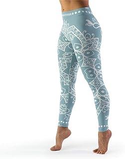 IOVEQG Women Full-Length Yoga Leggings Powder Blue Mandala Gym Running Leggings for Pilates Gym