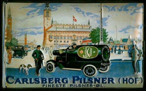 Blechschild Nostalgieschild Carlsberg Pilsner Hof Auto mit Flasche