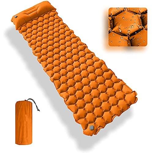 GREEN HAVEN Ultraleichte Aufblasbare Campingmatte   Isomatte mit integriertem Campingkissen   Wasserdicht Aufblasbare Isomatten Camping Rollmatte   Isomatte zum Wandern, Camping & mehr (Orange)
