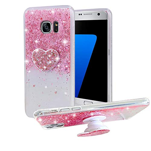 Galaxy S7 Phone case, Galaxy S7 Flash Phone case, Suitable for Girls and Women, Soft TPU Cushion to Protect The Cute Phone case, with Bracket and, Suitable for Samsung Galaxy S7 (Pink)