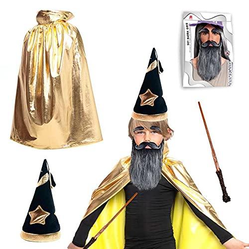 Partilandia Disfraz Mago Merln Nio Oro [Conjunto Accesorios Capa Dorada Gorro Barba Mago Varita]