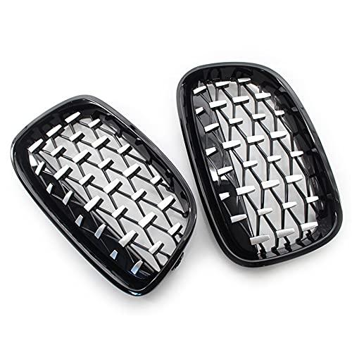 HUANTIAN Rejilla Delantera, Estilo Diamond Style ABS Front Racing Grille para BMW F20 F21 1 Series 2011-2014 Silver + Black