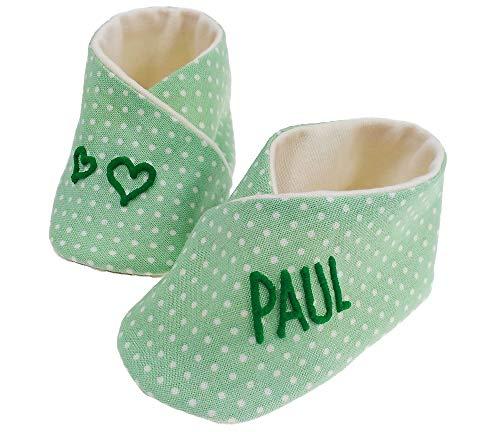 Babyschoenen stippen met naam, babyschoenen Vichyrui, babyschoenen gepersonaliseerd, babypussen, babyschoentjes herinnering geboorte Groene stippen