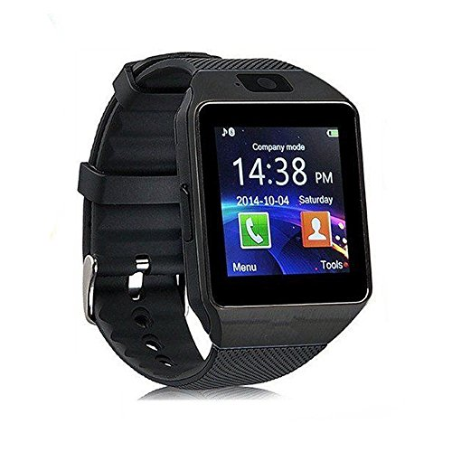 Smart Watch dz09 with Camera Bluetooth Wristwatch SIM Card Smartwatch for iOS Android Phones Support Multi Languages (Black)
