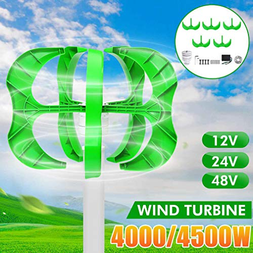 ANZQHUWAI Wind-Turbine-Generator Low Windgeschwindigkeit Startwindkraftanlagen mit Ladereglern, Windmühle für Heim,24v,4000W