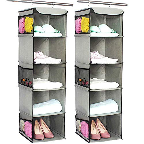 BrilliantJo 5 Shelves Hanging Closet Organizer 2 Pack Hanging Storage with 6 Side Pockets for Clothes Bags 43x12x12Gray