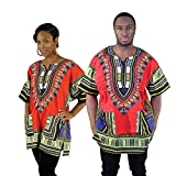 Camisa/camiseta de Dashiki con estampado africano, unisex, color rojo, talla mediana a 4XL, para festivales tribales y todas las ocasiones