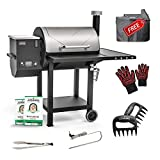 ASMOKE Wood Pellet Grill and Smoker Kit with 40Lbs 100% Pure Apple Wood Pellets, 700 Cooking Area 8 in 1 BBQ Grill Set, Advanced Grill System and Patented Safety Design, Temperature Range 180℉ to 500℉