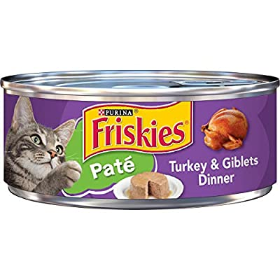 Purina Friskies Pate Wet Cat Food, Turkey & Giblets Dinner - (24) 5.5 oz. Cans