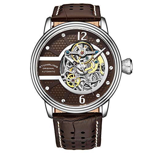 Stuhrling Original Mens Watch - Automatic Self Winding Dress Watch - Skeleton Watches for Men - Leather Watch Strap Mechanical Watch Analog Watch for Men (Brown)