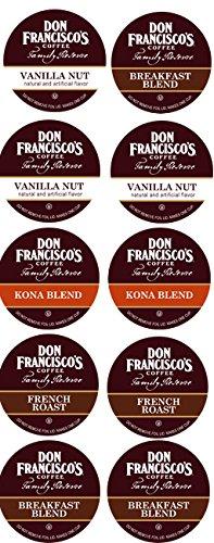 10 Cup Don Francisco's Sampler! 2.0 compatible! KONA, Vanilla Nut & French Roast