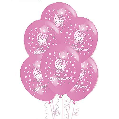 ocballoons Palloncini Battesimo Rosa addobbi e Decorazioni per Feste Confezione 20pz
