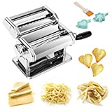 TANBURO Pasta Maker, 4 in 1 Pasta Making Machine for Fresh Spaghetti Fettuccine Tagliatelle Lasagne, Stainless Steel Pasta Machine with 9 Thickness Settings Dough Roller Noodle Cutter Ravioli Maker