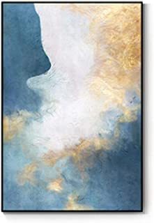 Memoirs- Abstract Blue Golden Dreamy Color Canvas Painting Artistic Poster Modern Print for Living Room Bedroom Fashion Wall Art Decor HD,50x80cm (No Frame),A