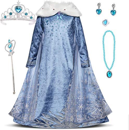 Emin Disfraz de Princesa Disfraz y Accesorios Vestido para Niñas Azul Cuello Blanco Edredón Disfraz de Manga Larga Capa Tul Nieve y Hielo 2 Disfraz de Cosplay Cumpleaños Carnaval Invierno Halloween