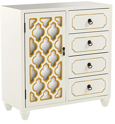 """Heather Ann Creations 4 Drawer Wooden Accent Chest and Cabinet, Multi Clover Pattern Grille with Mirrored Backing, 30.75""""H x 29.5""""W, Beige/Gold"""