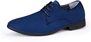 QinMei Zhou Men's Fashion Oxford Casual Personality Colorful Comfortable Low-top Formal Shoes (Color : Blue, Size : 6 UK)